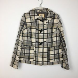 Old Navy Gray Plaid Wool Hooded Toggle Coat M